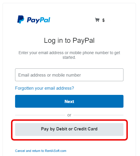 An example PayPal payment screen