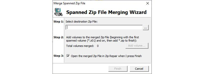 Image of Open a Spanned Zip File